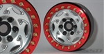 "SSD RC 1.9"" Champion Beadlock Wheels (Silver / Red) (2)"