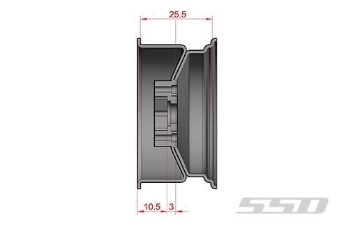 "Chrome SSD RC 8 Hole 1.9"" Steel Beadlock Wheels SSD00270"