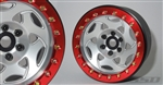 "SSD RC 2.2"" Champion Beadlock Wheels (Silver / Red) (2)"