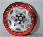 "SSD RC Single 2.2"" Champion Beadlock Wheel (Silver / Red) (1)"