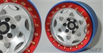 "SSD RC 2.2"" Champion PL Beadlock Wheels (Silver / Red) (2)"