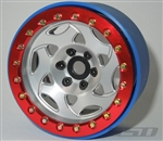 "SSD RC Single 2.2"" Champion PL Beadlock Wheel (Silver / Red) (1)"