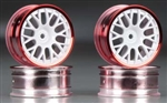 Tamiya RC Medium Narrow Mesh Wheels White/Red Rims/+2 (4)