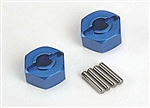 Traxxas Wheel hubs, hex blue-anodized, lightweight aluminum/ axle pins