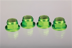 Traxxas Green Wheel Nuts, aluminum, flanged, serrated 4mm (4)