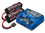 Traxxas Battery/charger completer pack includes TRA2973 Dual iD charger (1) TRA2890X 4S 14.8V 6700mAh 25C LiPo batteries (2)