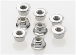 Traxxas Silver Wheel Nuts 4mm flanged nylon locking (8)