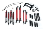 Traxxas Long Arm Lift Kit TRX-4 Complete Red (Red Powder Coated Links Red-Anodized Shocks)