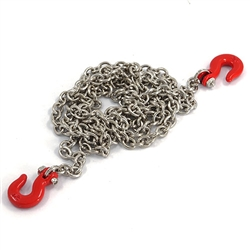 Yeah Racing 1/10 RC Rock Crawler Accessories - 96cm Long Silver Chain and Red Hook Set