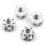 Yeah Racing 4mm Aluminum Wheel Flange Lock Nut 4pcs For RC Car Silver