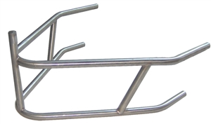 "Triple X Midget Rear Bumper With Post.  Polished Stainless Steel.  Lightweight. 25 1/2"" Long."
