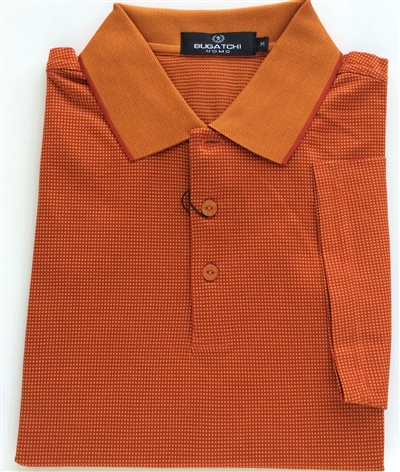Bugatchi mens mercerized Egyptian cotton polo shirt pumpkin