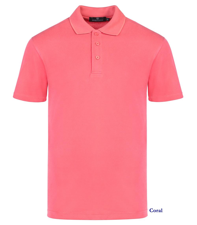 Bugatchi Shirts Ribbed Polo Short Sleeve