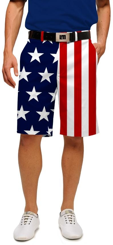 stars and stripes golf shorts  | LoudMouth Golf patriotic clothing