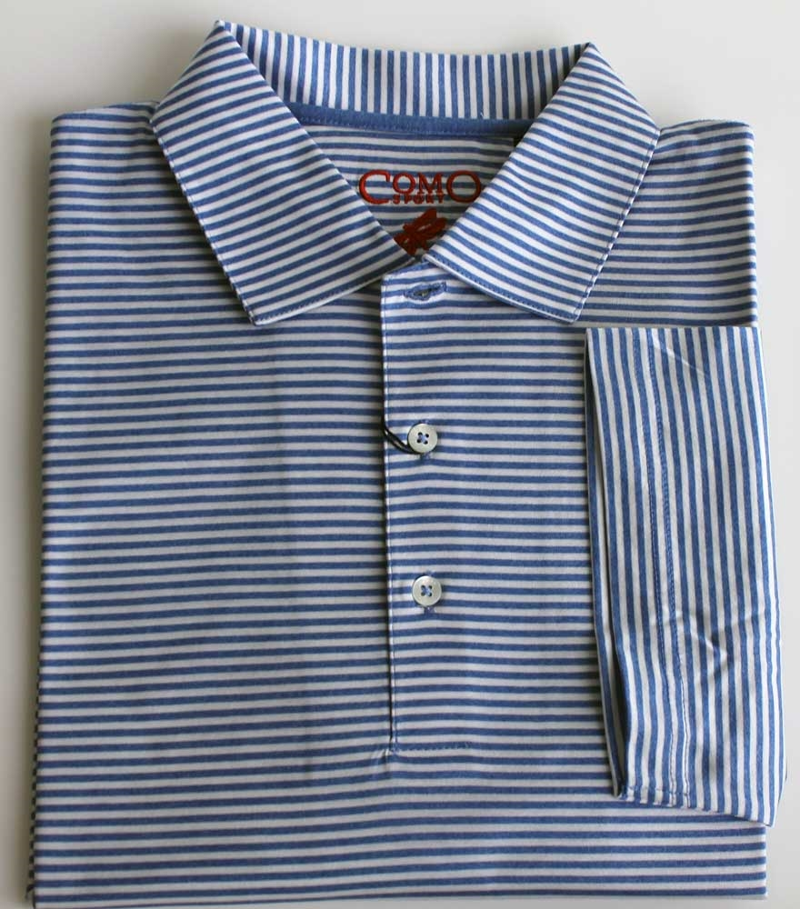 Como Sport Mens Blue Striped Polo Shirt