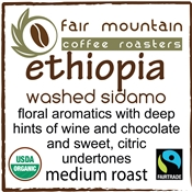 Ethiopia Washed Sidamo - Fair Trade Organic