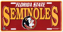 FLORIDA STATE SEMINOLES METAL LICENSE PLATE