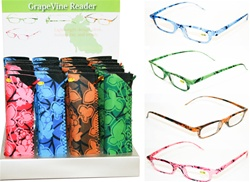 GRAPEVINE PRINT READING GLASSES WITH NEOPRENE CASE 24 COUNT