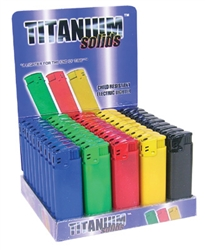 TITANIUM SOLID ELECTRONIC LIGHTERS 50 COUNT