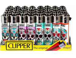 Clipper Mexican Skulls Lighters 48 Count