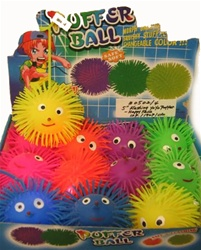 "These light-up, squishy Puffer Balls are fun to squeeze, toss and play yo-yo with. Measures approximately 5"" in diameter."