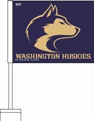UNIVERSITY OF WASHINGTON HUSKIES CAR FLAGS 6 COUNT