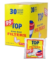 Top King Size Filter Tips 100 Pack 30 Count