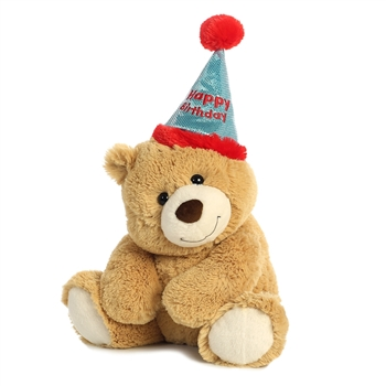 Happy Birthday Teddy Bear with Party Hat by Aurora