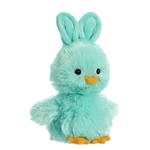 Stuffed Teal Chick with Bunny Ears by Aurora