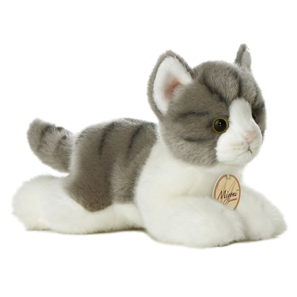 Realistic Stuffed Gray Cat 8 Inch Plush Tabby Cat By Aurora At