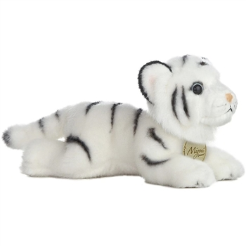 Realistic Stuffed White Tiger 8 Inch Plush Wild Cat By Aurora