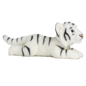 Realistic Stuffed White Tiger 16 Inch Plush Wild Cat By Aurora