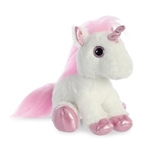 Stuffed White Unicorn with Pink Horn Sparkle Tales by Aurora