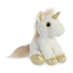 Stuffed White Unicorn with Gold Horn Sparkle Tales by Aurora