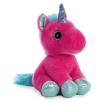 Starlight the Small Stuffed Fuchsia Unicorn with Blue Hooves by Aurora