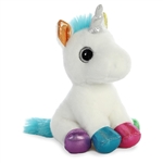 Jewel the Small Stuffed White Unicorn with Colorful Hooves by Aurora