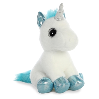 Snowbelle the Small Stuffed White Unicorn with Blue Hooves by Aurora