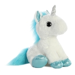 Frosty the Stuffed White Unicorn with Blue Hooves by Aurora