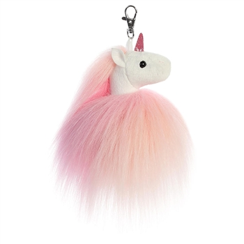 Fluffy the Pink Clip-On Unicorn Stuffed Animal by Aurora