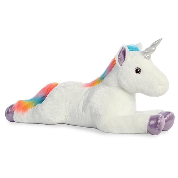 Giant Stuffed White Unicorn W Rainbow Mane Aurora Stuffed Safari