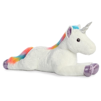 Sky Bright the Giant Stuffed White Unicorn with Rainbow Mane by Aurora
