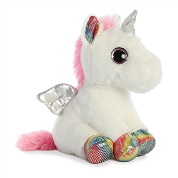 Spirit the Small Stuffed White Unicorn with Rainbow Hooves by Aurora