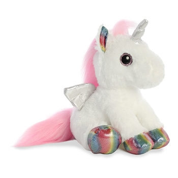 Astra the Stuffed White Unicorn with Rainbow Hooves by Aurora