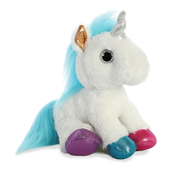 Ritzy the Stuffed White Unicorn with Colorful Hooves by Aurora