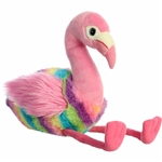 Rainbow Stripes Pink Flamingo Stuffed Animal by Aurora