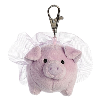 Tulip the Clip-On Stuffed Purple Pig with Tutu by Aurora