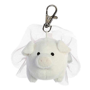 Fleur the Clip-On Stuffed White Pig with Tutu by Aurora