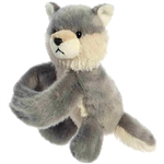 Stuffed Gray Wolf Snap Bracelet Wristamals Plush by Aurora