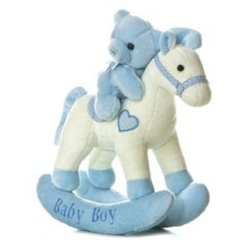 Musical Plush Blue Rocking Horse With Teddy Bear By Aurora