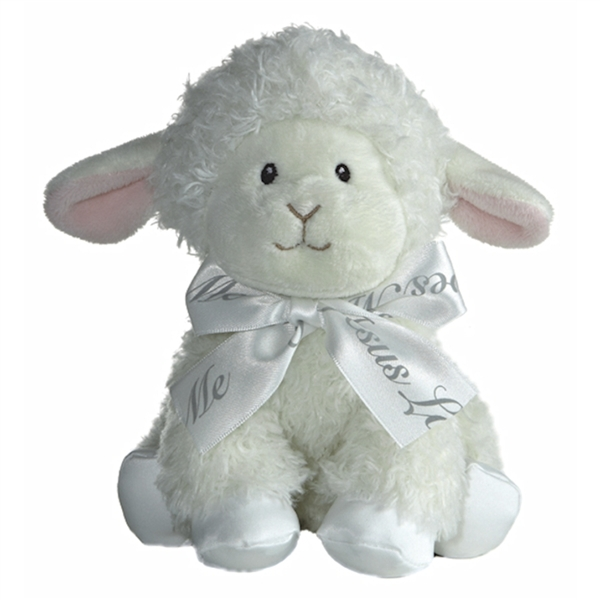 Baby Safe Plush Lamb W Jesus Loves Me Bow Aurora Stuffed Safari